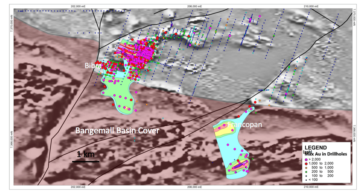 Figure 8: Bibra and Francopan mineralisation, drilling, regional aeromagnetics